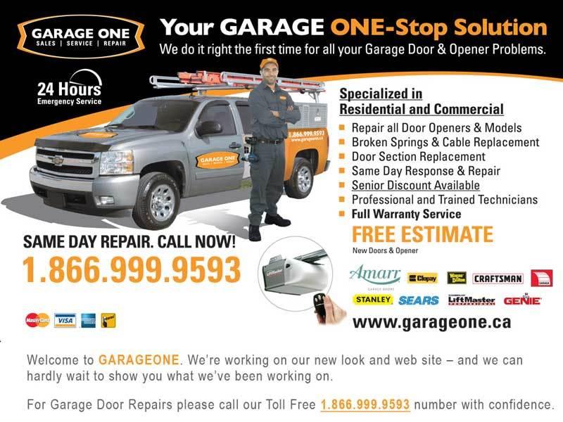 Garage one garage doors service mississauga on 28 for Garage ad echirolles